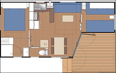 plan Mobil Home OHARA Terrasse Intégrée 27 m²