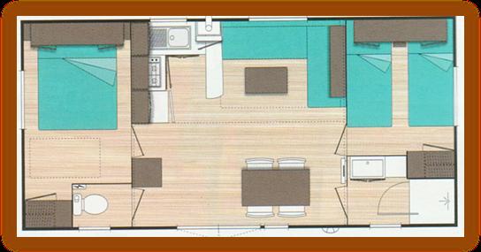 plan Mobil Home O'Hara 4 Saisons Avec Climatisation 27m²