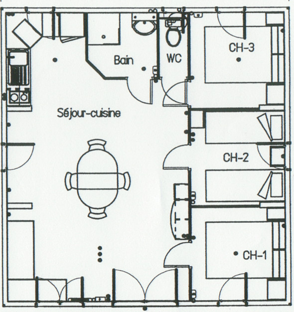 PLAN Chalet Prestige 3 chambres 52m²