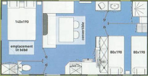 plan location Mobil Home Ibiza 4 Saisons Modèle Ridorev 27 m²