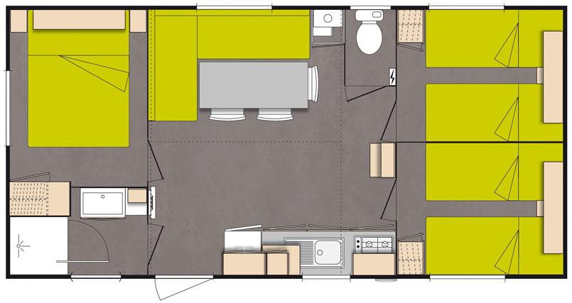 PLAN Mobil Home O'HARA 3 chambres 30 m²