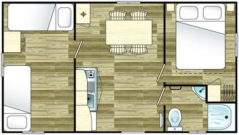 plan Mobil Home DOMINO 4/5 personnes – 25m²