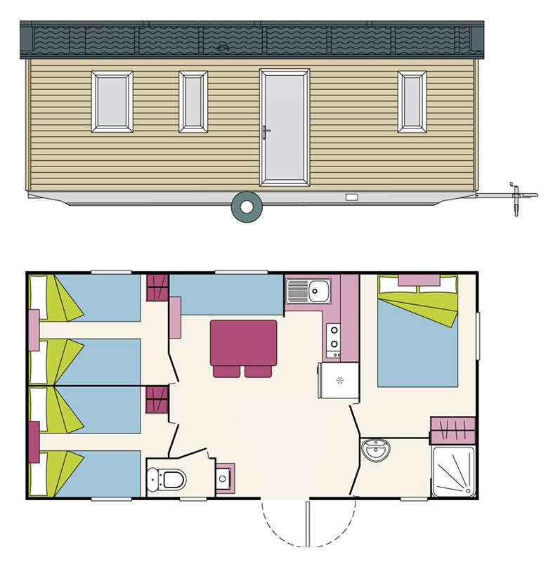 PLAN Mobil Home Sun Living 3 Chambres 32 m² - 6p