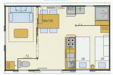 plan location Mobil Home Bikini Ridorev 2/4 p – 23 m²