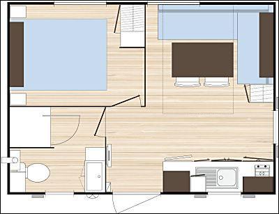 plan location Mobil Home Bikini O'Hara 2/4 p – 18 m²