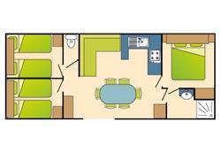 PLAN Mobil-home 3 chambres 6 personnes Louisiane Florès 38m²